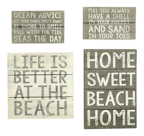 Beach Planked Distressed Wood Wall Plaques 12 10 and 8 Inches Set of 4
