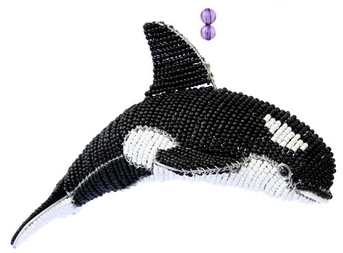 Marine Orca Killer Whale Glass Beaded Wire Sculpture Black Grassroots Beadworkx