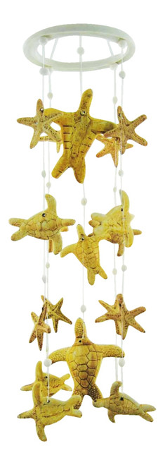 Coastal Sea Turtles and Starfish 19 Inch Wind Chimes Garden Decor