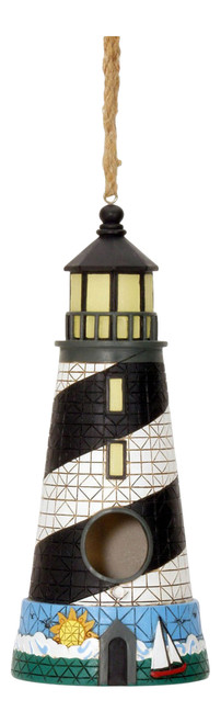 Black and White Lighthouse Birdhouse 11 Inch Resin Shaped Backyard Garden Decor