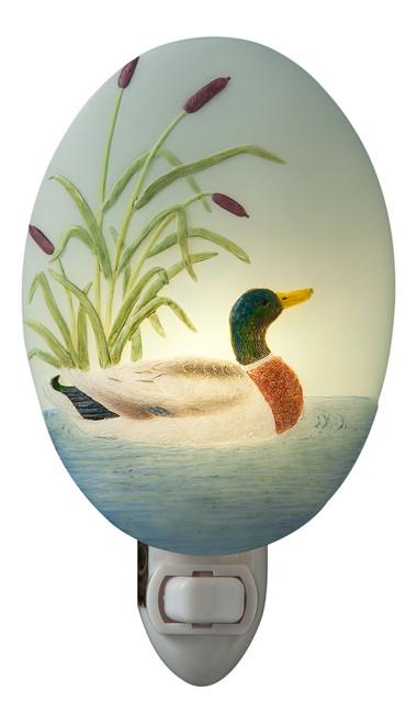 Mallard Duck Swimming on Lake Night Light Bonded Marble