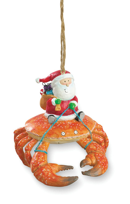 Beach Santa Riding Crab Claw Tiki Christmas Ornament