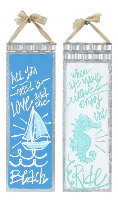 All You Need is Love and When Life Makes Waves Tin Nautical Wall Signs Set of 2
