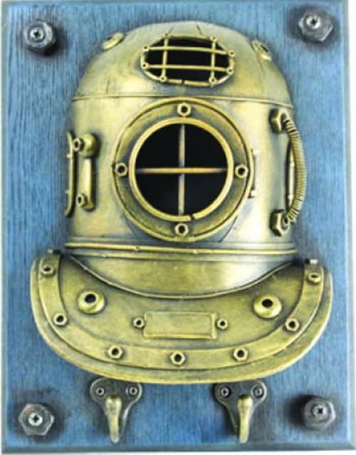 Antiqued Gold Tin Diving Helmet Nautical Double Hook 10 Inch Wall Decor