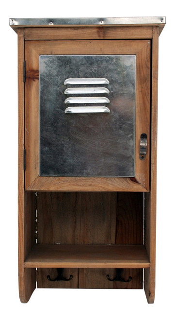 Wood and Metal Cabinet Storage 20 Inch Wall Unit with Hooks Industrial Look