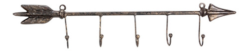Directional Arrow With Five Hooks Metal Wall Plaque 17 Inches