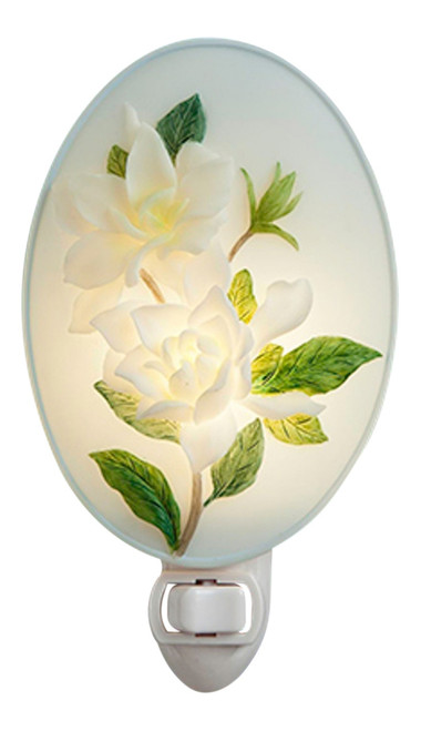 White Magnolia Blooms on Branch Bonded Marble Night Light