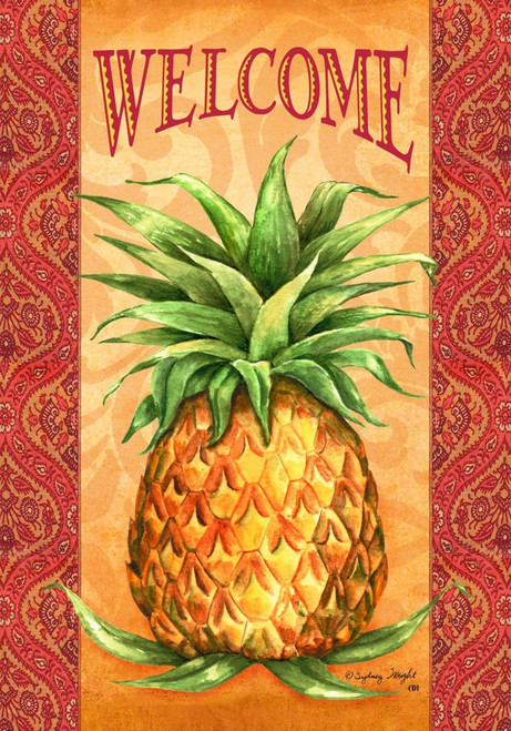 Elegant Pineapple Welcome Southern Hospitality 18 X 12 Inch Garden Flag