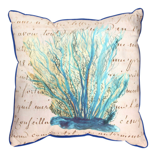Blue Coral on Beige 18 Inch Indoor Outdoor Throw Pillow Betsy Drake Design