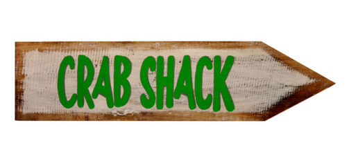 Crab Shack Directional Arrow Wood Wall Plaque 18 Inch Green and White
