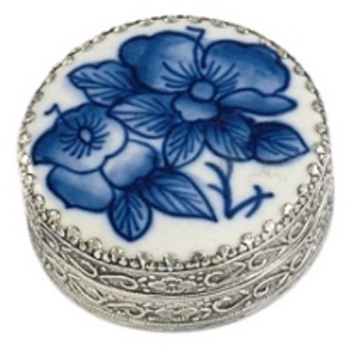 Andrea by Sadek Blue Porcelain Floral Mini Trinket Box 18897B