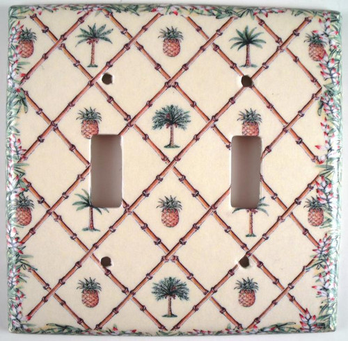 Bahama Pineapple Palm Trees Double Switch Plate Cover
