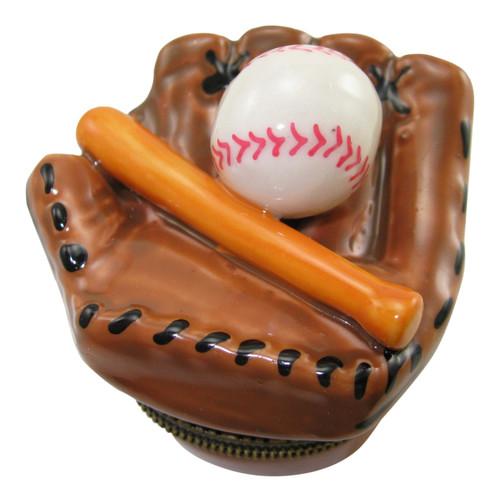 Baseball Glove Team League Bat and Ball Porcelain Hinged Trinket Box