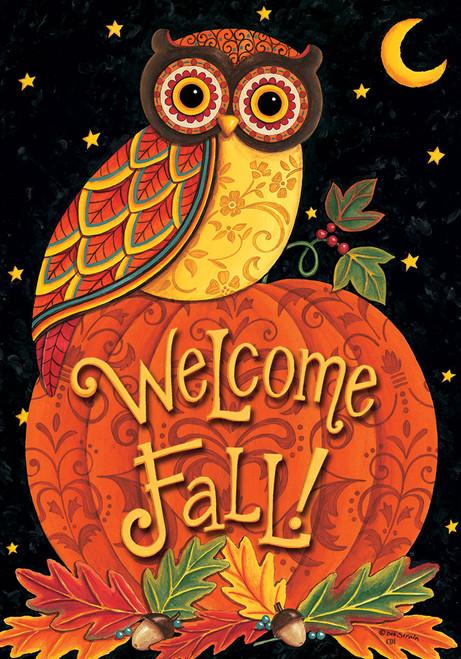Fall Welcome Owl Perched on Pumpkin 12 X 18 Inch Garden Flag Custom Decor