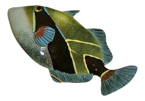 12 Inch Tropical Humu Fish Sea Life Resin Wall Decor Blue and Green