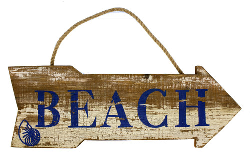 Beach Directional Arrow Wood Plaque Weathered Distressed Look