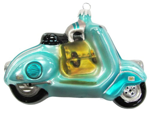 Aqua Blue Motor Scooter Glass Holiday Christmas Ornament