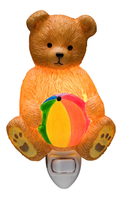 Playful Brown Teddy Bear with Beach Ball Baby Room Night Light Ibis and Orchid