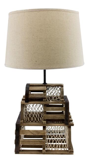 Triple Stacked Wood Fishing Lobster Traps Table 40 Watt Electric Desk Lamp