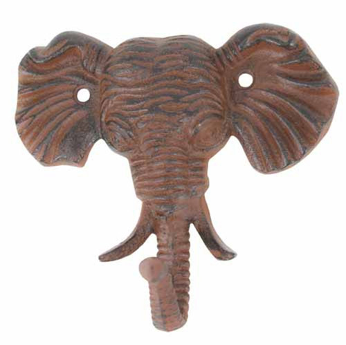 Antiqued Reproduction Cast Iron Elephant Head Single Hook Wall Decor