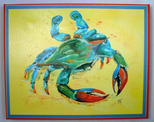 Ocean Blue Crab Giclee Canvas Gallery Wrap 15X12 Inches Wall Art