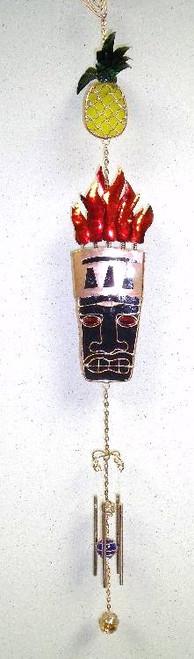 Tropical Tiki Man Idol Glass Metal Wire Wind Chime