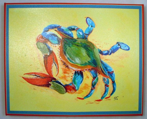 Ocean Blue Crab Sand Giclee Canvas Gallery Wrap 15x12 Inches