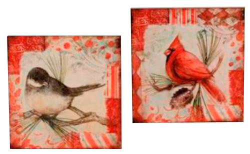 Backyard Feathered Friends Bird Wall Plaques Set of 2 Assorted