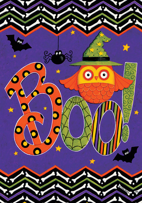 Chevron Print Halloween Bones Owl in Witch Hat Boo 12 X 18 Inch Garden Flag