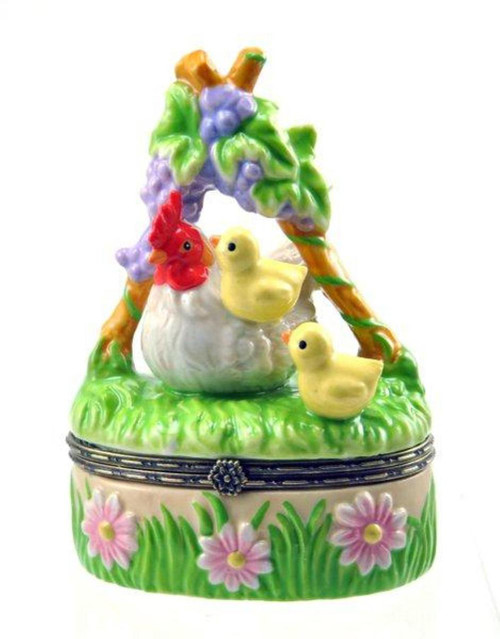 Barnyard Farm Animals Hen and Baby Chicks Porcelain Hinged Trinket Box