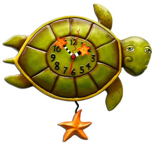 Coastal Shelldon Sea Turtle Turtle Pendulum Battery Wall Clock