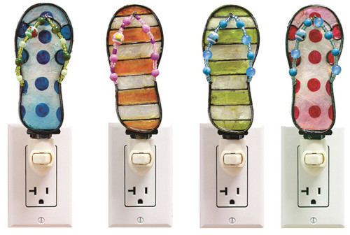 Capiz Shell Night Lights Flip Flops Sandals Blue Orange Lime Pink Set of 4