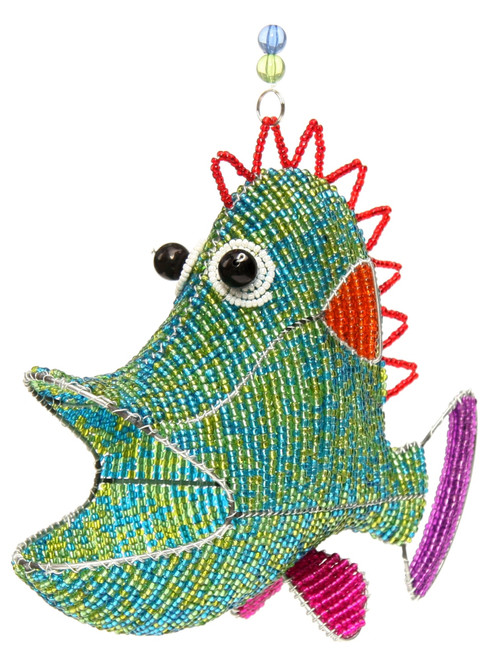 Funky Fish Lime Tiki Kids Glass Beaded Wire Sculpture