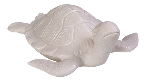 Sea Turtle Bisque White 8 Inch Table Figurine Ceramic