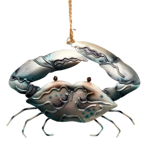 Blue Crab Pearlized Christmas Holiday Ornament Metal 4.5 Inches