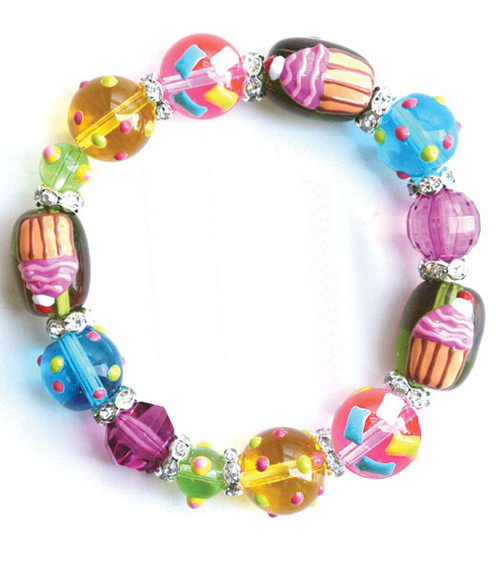 Crazy Cupcake Sugar Sweet Rhinestone Glass Beaded Kate and Macy Stretch Bracelet