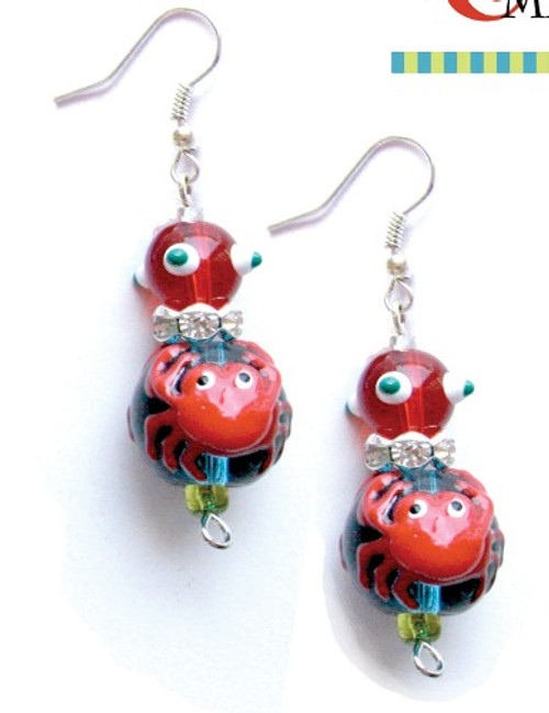 Red Crabby Crab Rhinestone Glass Beaded Kate and Macy Earrings