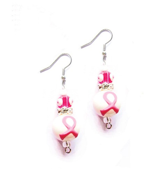 Think Pink Breast Cancer Rhinestone Glass Bead Kate and Macy Earrings