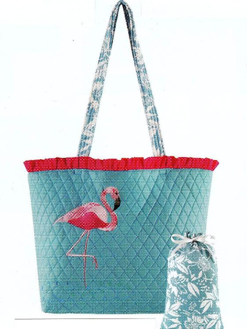Ruffled Pink Flamingo Mingo Beach Blue Tote Bag Set