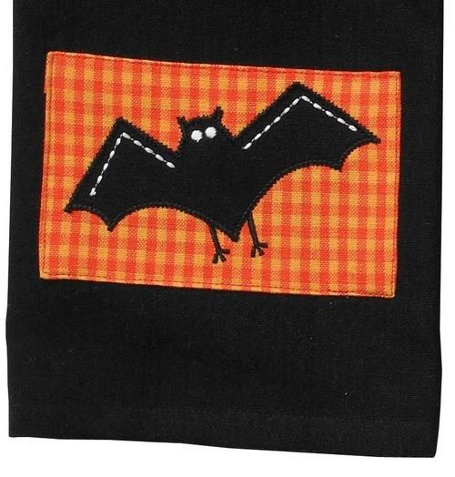 Appliqued Halloween Spooky Bat Kitchen Pantry Dish Towel by Split P