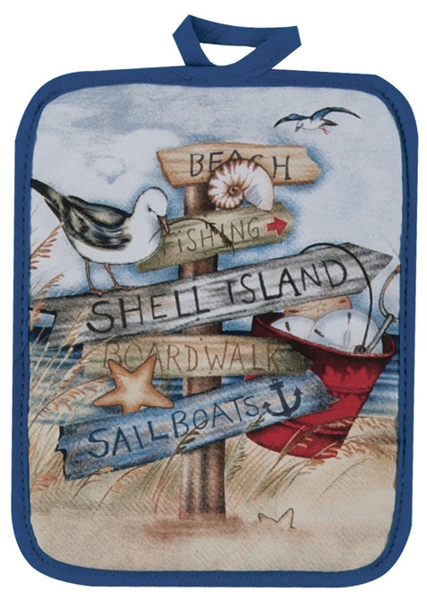 Beach Signs Shell Island Boardwalk Printed Kitchen Pot Holder Cotton