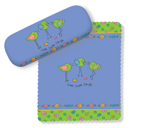 Pretty Little Birds Live Love Laugh Blue Eye Glasses Case and Lens Cloth