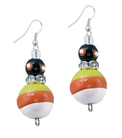 Trick R Treat Candy Corn Halloween Rhinestone Glass Beaded Kate Macy Earrings