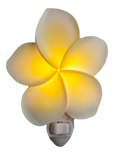 Plumeria Blossom Flower Floral Hand Painted Night Light