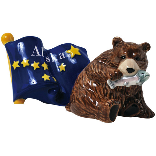 Alaska Flag and Brown Bear Salt and Pepper Shakers Magnetic Westland Giftware