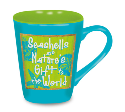 Beach Sign Seashells Are Natures Gift to World 15 Ounce Coffee Latte Love Mug