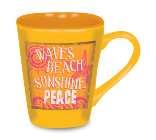 Beach Sign Waves Sunshine Peace Sunny Yellow 15 Ounce Coffee Latte Love Mug