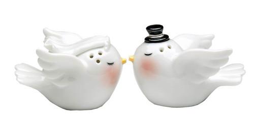 Bride and Groom Love Birds Wedding Salt and Pepper Shakers