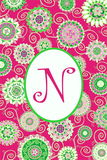 Beautiful Fashion Circle Double Sided Monogram N Garden Flag
