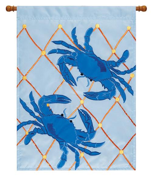 Double Appliqued Blue Crabs 18 X 13 Inch Polyester Garden Flag